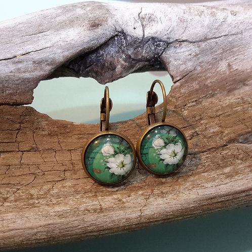 Teal floral ear rings