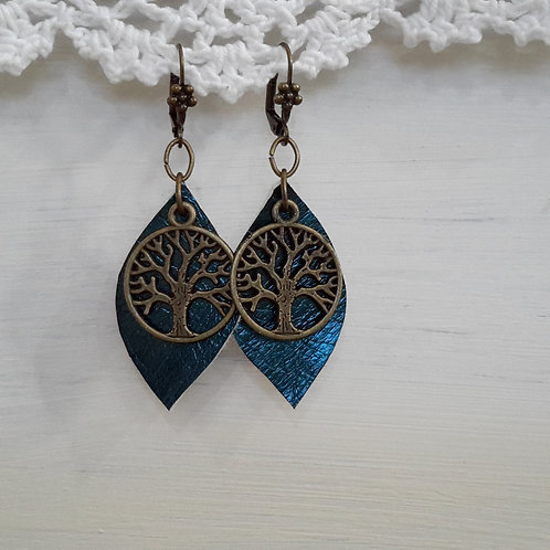 Leather tree of life ear rings