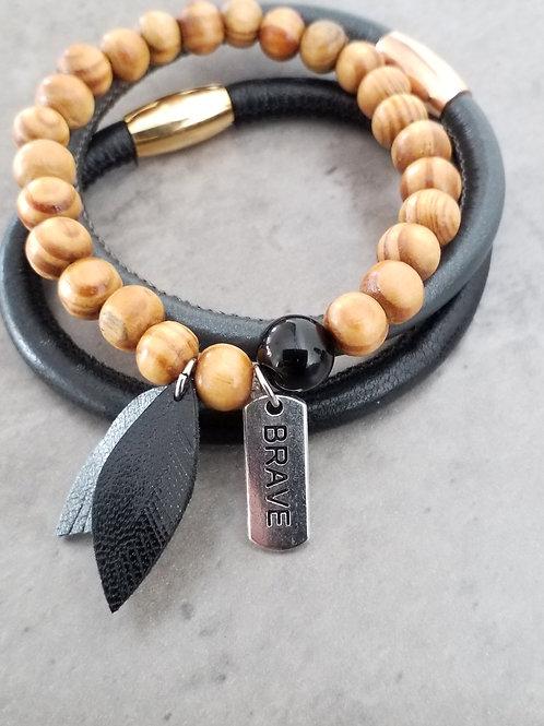Black stone bracelet set