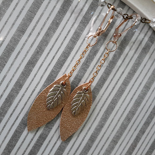 Rose gold and silver leaf ear rings