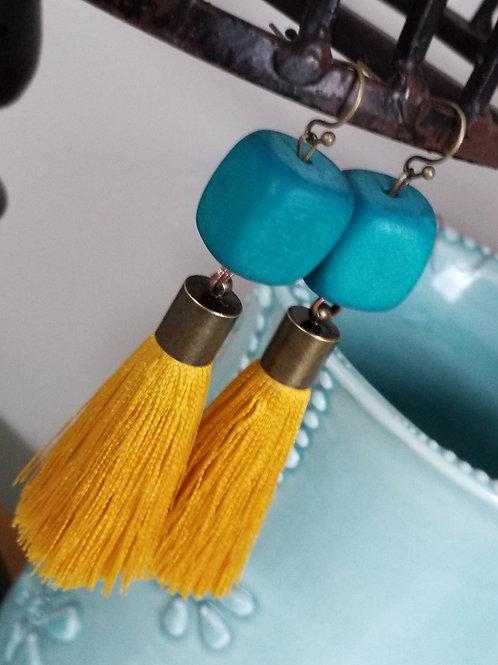 Turqoise mustard tassel ear rings