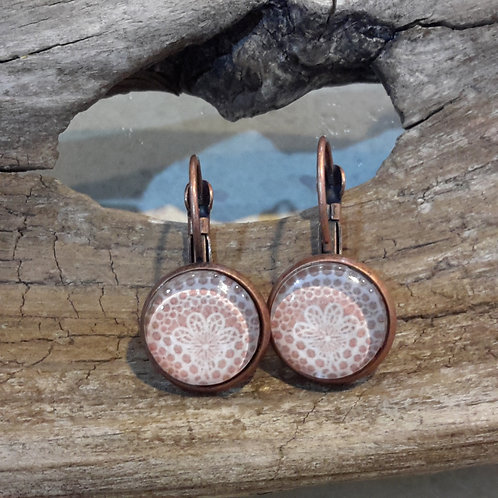 Copper lace ear rings
