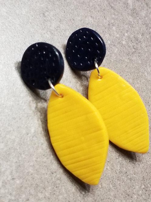 Navy mustard leaf polymer clay earrings