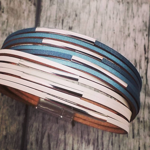 Denim and white leather bracelet