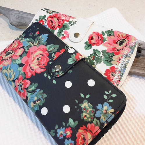 Black floral oilcloth wallet