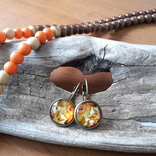 Orange floral ear rings