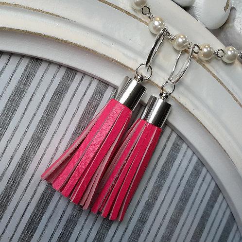Fluro pink leather tassel ear rings