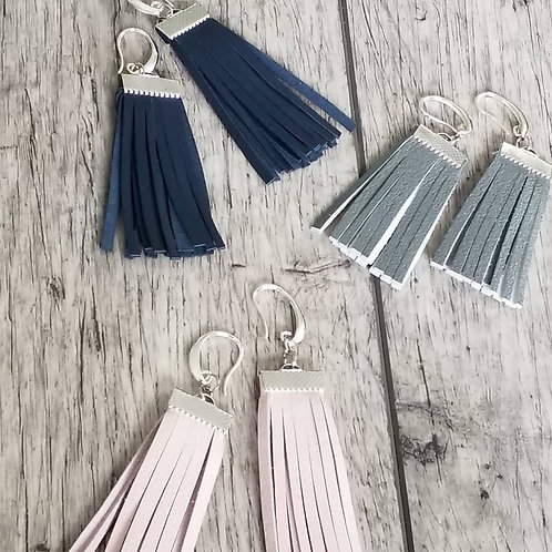 Boho leather tassel ear rings