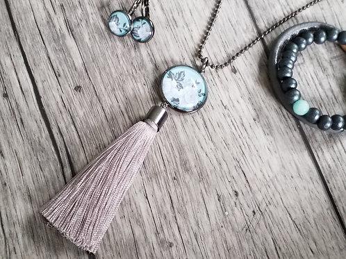 Mint and grey dome tassel pendant