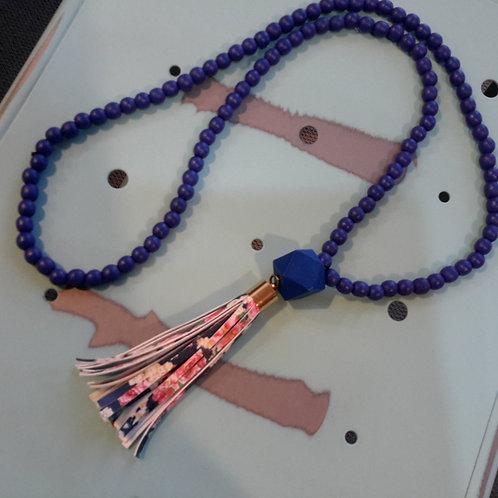Blue floral tassel necklace