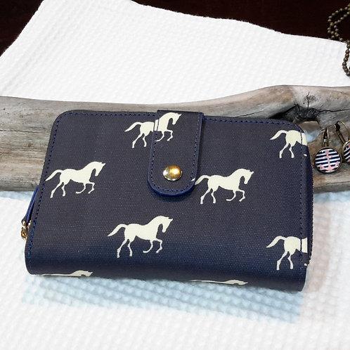 Small horse oilcloth wallet
