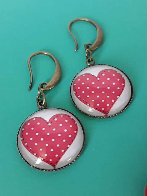 20mm red heart ear rings