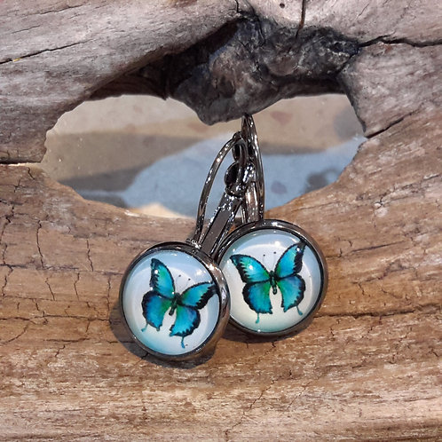 Blue butterfly ear rings