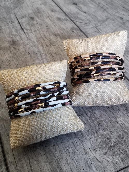 Pleather leopard print bracelet
