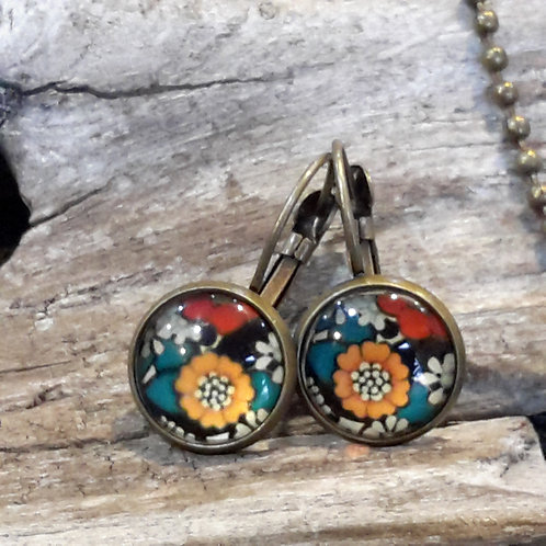 Orange and red ear rings