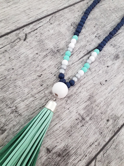 Navy and mint leather tassel necklace