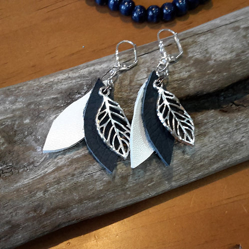 Navy and white leather ear rings