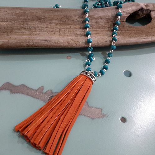 Turquoise and orange leather tassel necklace