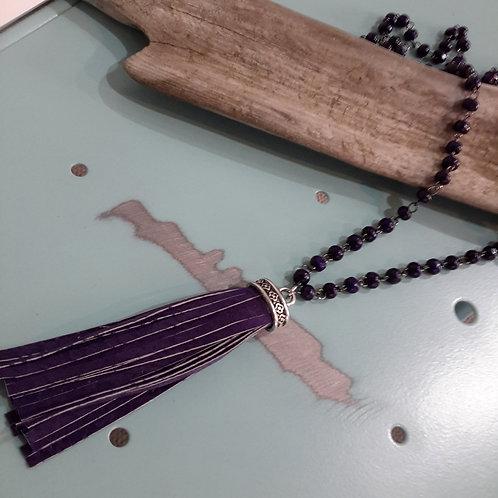 Purple leather tassel necklace