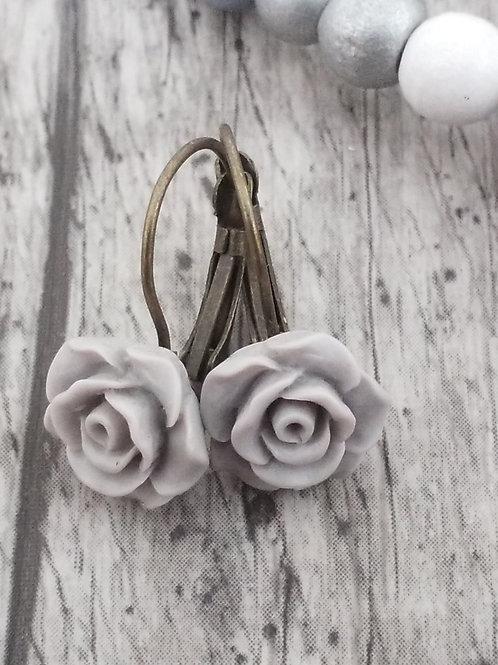Grey rose ear rings