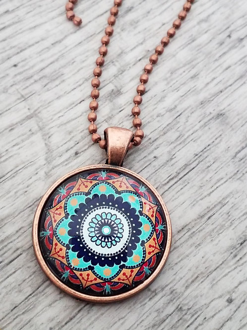 Mustard and turquoise dome pendant