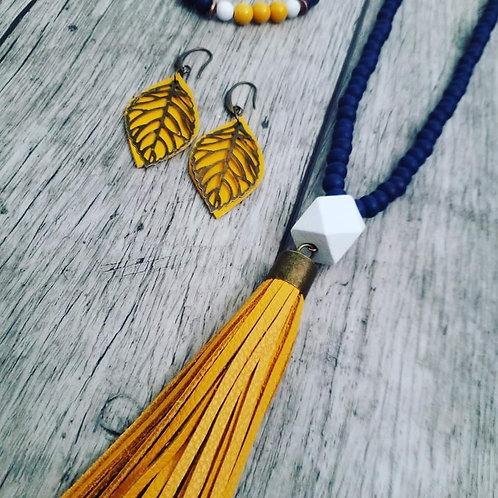 Navy mustard tassel necklace