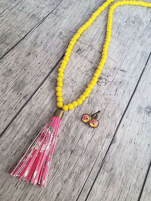 Yellow floral ear rings and tassel necklace set