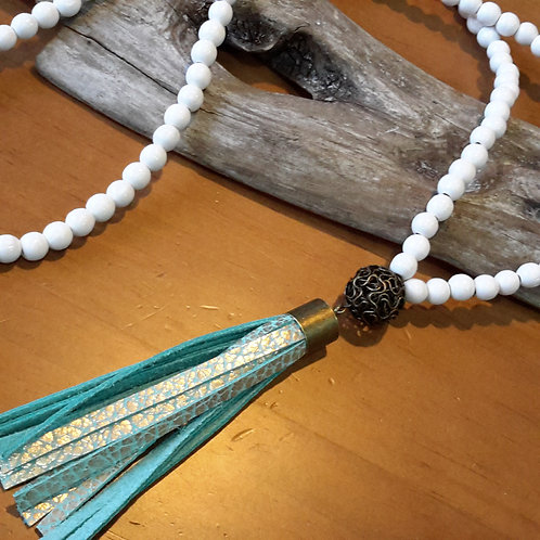 White and mint genuine leather tassel necklace