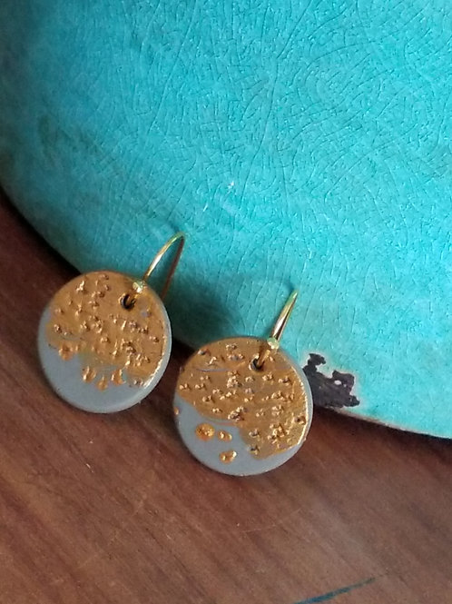 Polymer clay gold ear rings