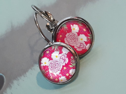 Bright pink floral ear rings