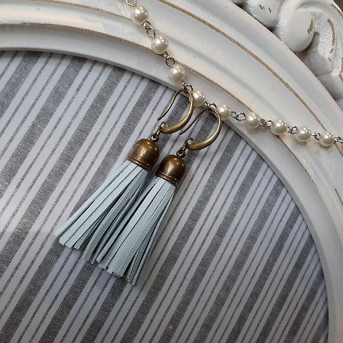 Duckegg blue leather tassel ear rings