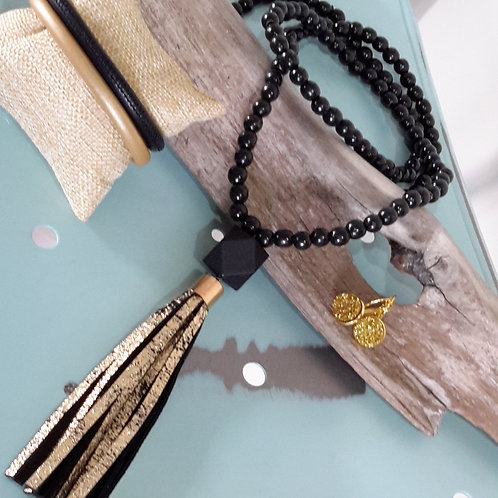 Black and gold genuine leather tassel necklace