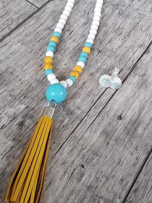 Turqoise and mustard tassel necklace