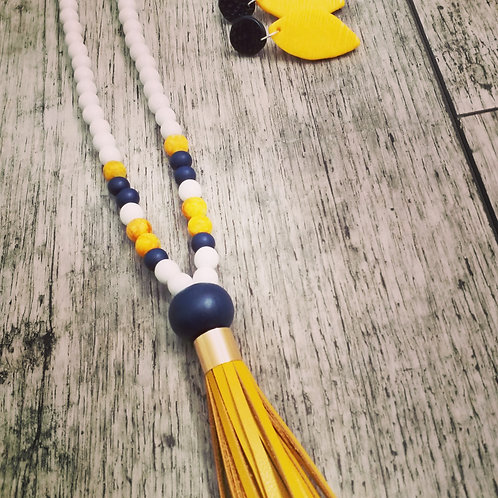 Mustard stone and navy tassel necklace