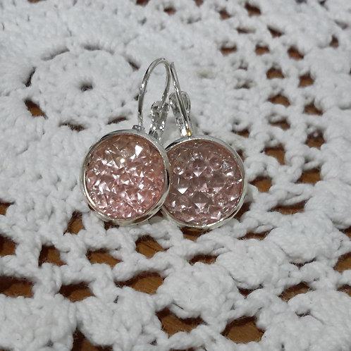 Pink druzy ear rings