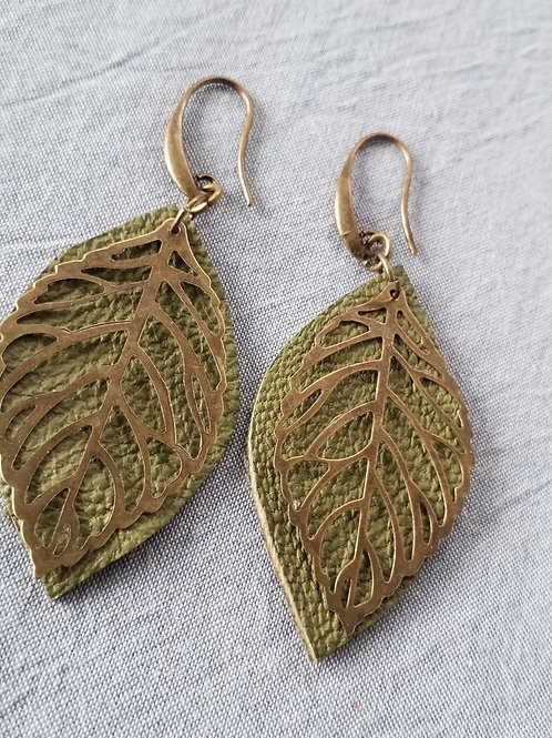 Sage leather leaf ear rings