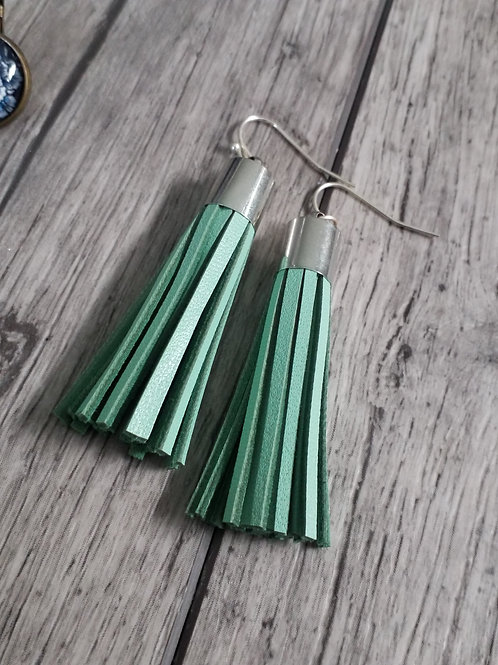 Mint leather tassel ear rings