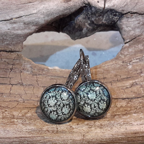 Teal damask ear rings