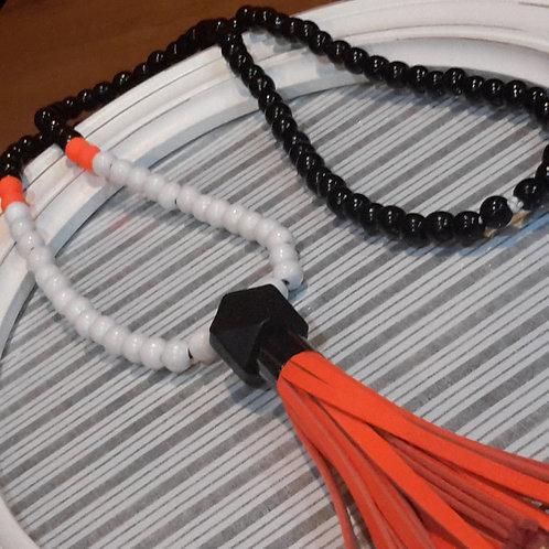 Fluro orange leather tassel necklace