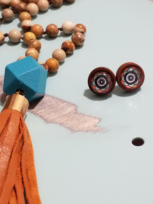 Tan stone and leather tassel necklace