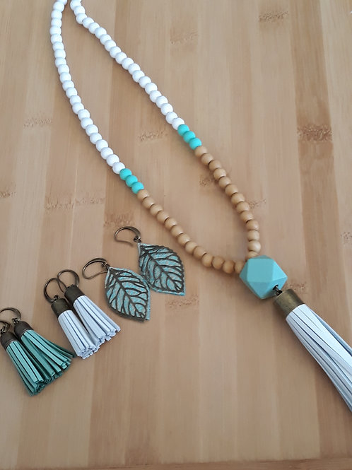Natural, mint and white genuine leather tassel