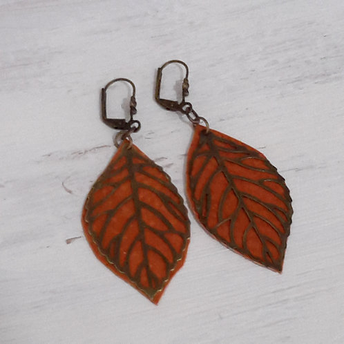 Burnt orange leather ear rings
