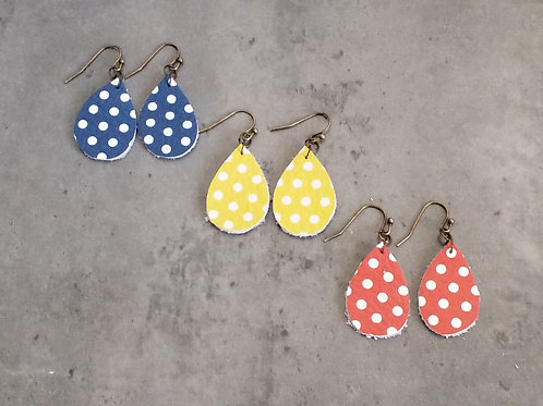 Polka dot drop ear rings