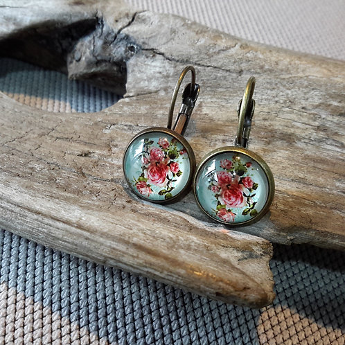 Blue floral ear rings