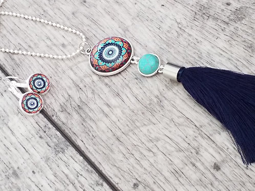 2 tier mustard and turquoise tassel necklace