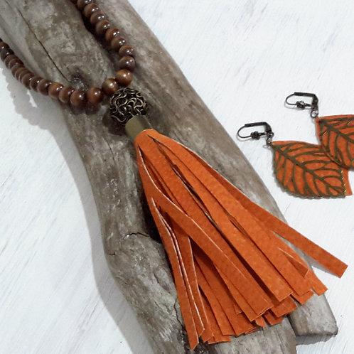 Burnt orange leather tassel necklace