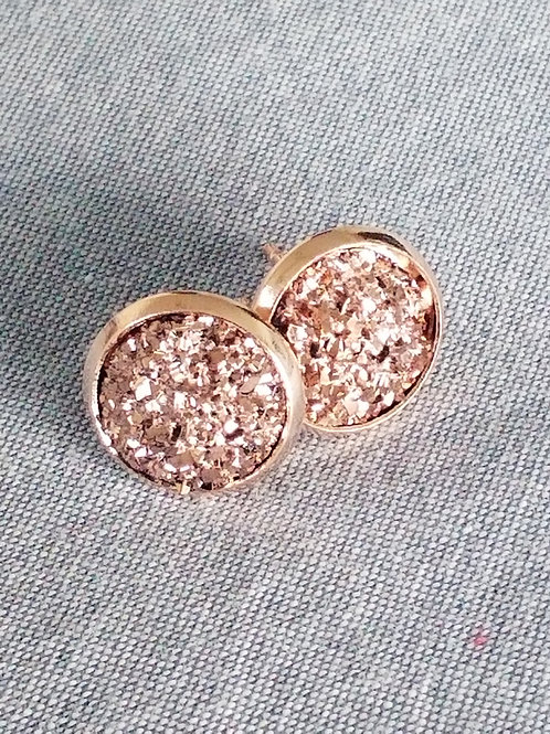 Mini rose gold druzy ear rings