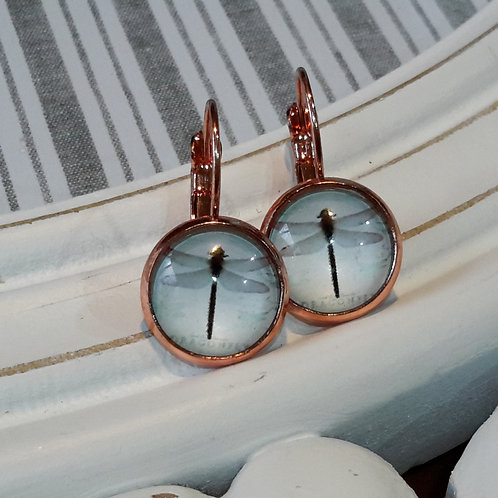 Rose gold dragonfly ear rings