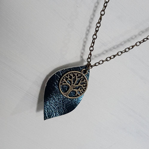 Leather tree of life pendant