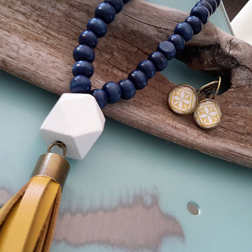 Navy/white and mustard leather tassel necklace